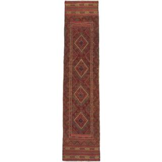 Ecarpetgallery Hand-knotted Tajik Caucasian Green Orange Wool Runner Rug (1'11 x 8')