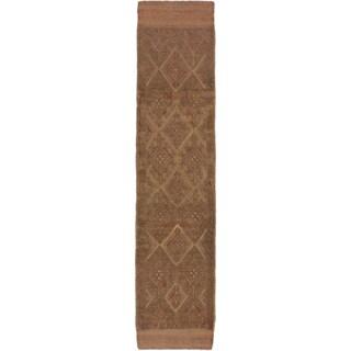 Ecarpetgallery Hand-knotted Tajik Caucasian Green Brown Wool Runner Rug (2' x 8'8)