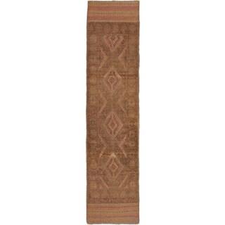 Ecarpetgallery Hand-knotted Tajik Caucasian Brown Wool Geometric Runner Rug (1'11 x 7'9)