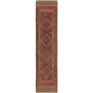 Ecarpetgallery Hand-knotted Tajik Caucasian Orange Green Wool Runner Rug (2' x 8'7)