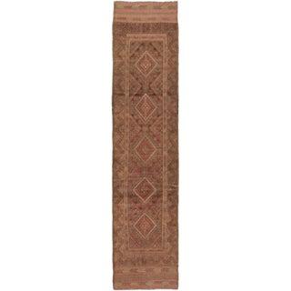 Ecarpetgallery Hand-knotted Tajik Caucasian Green Brown Wool Runner Rug (1'10 x 8')