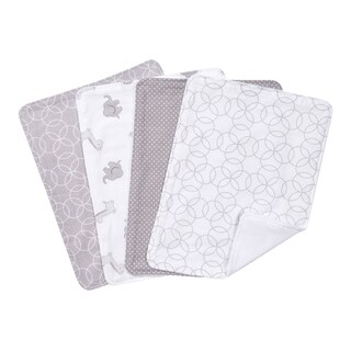 Trend lab Grey and White Circles 4 Pack Burp Cloth Set