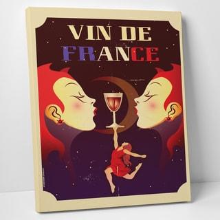 American Flat 'Vin De France' Gallery Wrapped Canvas Wall Art