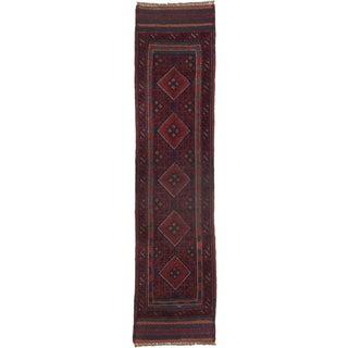 Ecarpetgallery Hand-knotted Tajik Caucasian Red Blue Wool Runner Rug (1'11 x 8'2)
