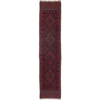 Ecarpetgallery Hand-knotted Tajik Caucasian Blue Red Wool Runner Rug (1'10 x 8'3)