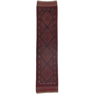 Ecarpetgallery Hand-knotted Tajik Caucasian Blue Red Wool Geometric Casual Runner Rug (2' x 8'3)
