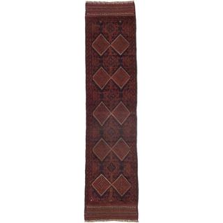 Ecarpetgallery Hand-knotted Tajik Caucasian Blue Red Wool Geometric Casual Runner Rug (2' x 8'7)
