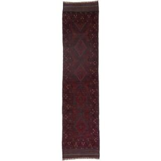 Ecarpetgallery Hand-knotted Tajik Caucasian Blue Red Wool Runner Rug (1'11 x 8'1)