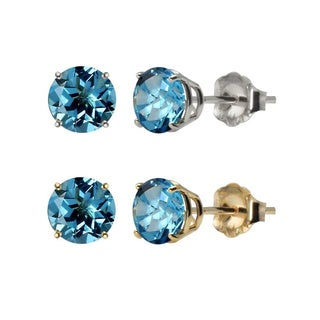 10k White or Yellow Gold 6mm Round Swiss Blue Topaz Stud Earrings
