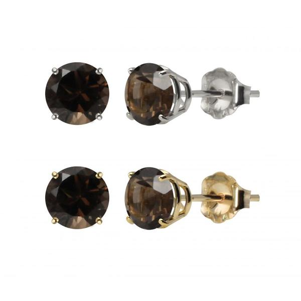10k White Or Yellow Gold 6mm Round Smoky Quartz Stud Earrings