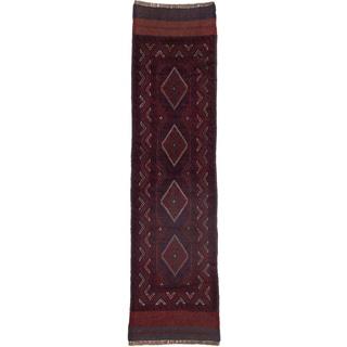 Ecarpetgallery Hand-knotted Tajik Caucasian Blue Red Wool Geometric Casual Runner Rug (2'1 x 8')