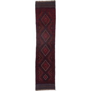 Ecarpetgallery Hand-knotted Tajik Caucasian Blue Red Wool Oriental Runner Rug (2' x 8'8)