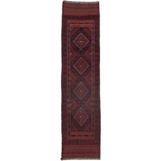 Ecarpetgallery Hand-knotted Tajik Caucasian Red Blue Wool Runner Rug (2'1 x 8'4)