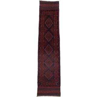 Ecarpetgallery Hand-knotted Tajik Caucasian Blue Red Wool Runner Rug (1'9 x 8'4)