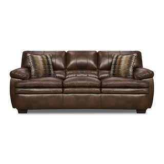 Simmons Upholstery Editor Brown Bonded Leather Sofa