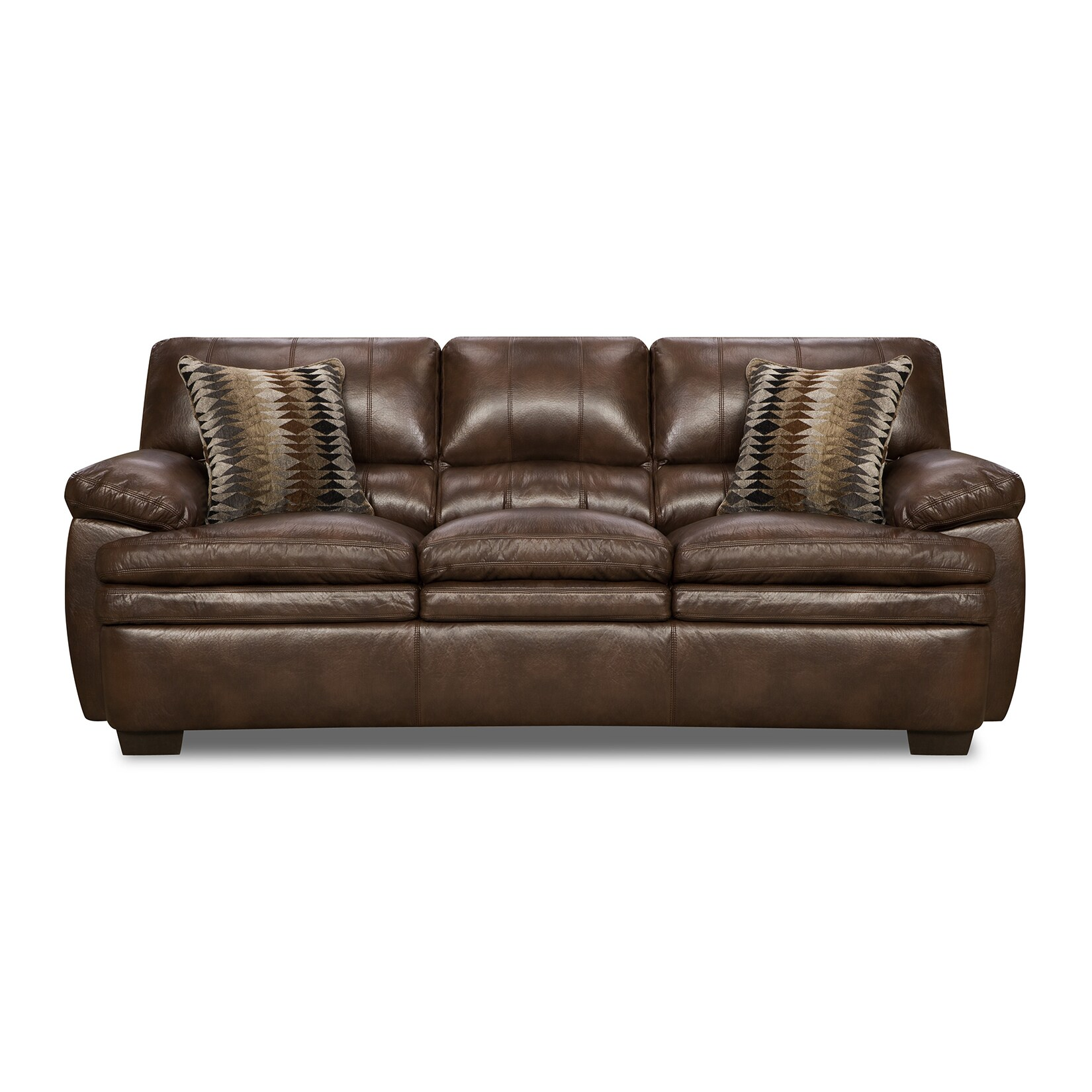 - Shop Simmons Upholstery Editor Brown Bonded Leather Sofa