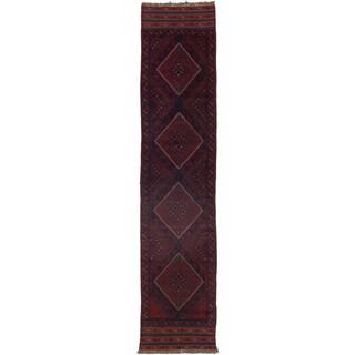Ecarpetgallery Hand-knotted Tajik Caucasian Blue Red Wool Runner Rug (1'11 x 8'9)