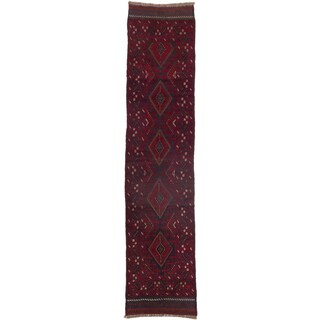 Ecarpetgallery Hand-knotted Tajik Caucasian Blue Red Wool Runner Rug (1'10 x 8'4)