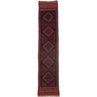 Ecarpetgallery Hand-knotted Tajik Caucasian Red Blue Wool Runner Rug (1'9 x 8'4)