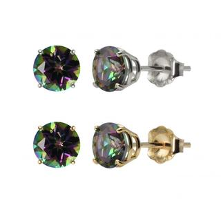 10k White or Yellow Gold 6mm Round Mystic Topaz Stud Earrings