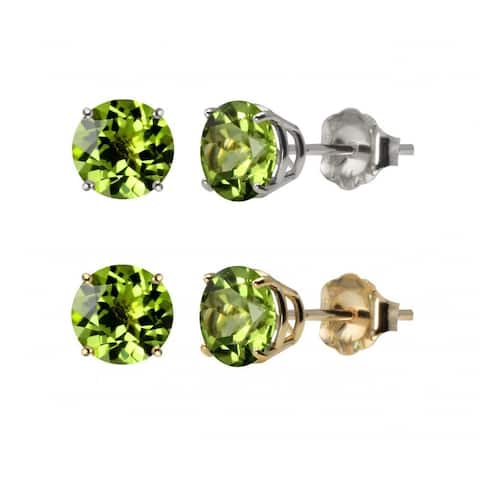 10 k White or Yellow Gold 6mm Round Peridot Stud Earrings