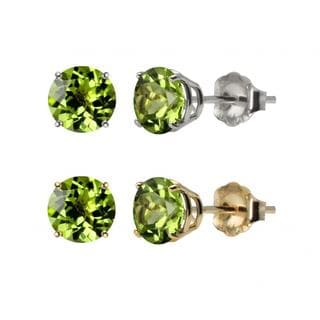 10k White or Yellow Gold 6mm Round Peridot Stud Earrings