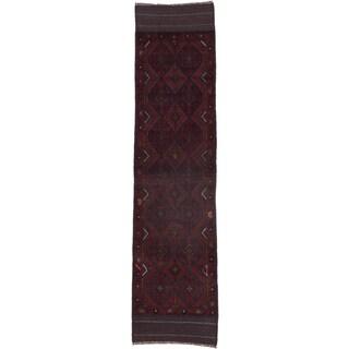 Ecarpetgallery Hand-knotted Tajik Caucasian Red Blue Wool Runner Rug (2' x 8'5)