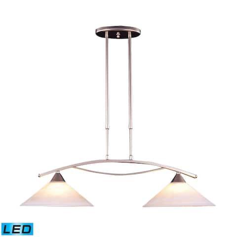 Elk Elysburg 2-light LED Island in Satin Nickel and White Glass
