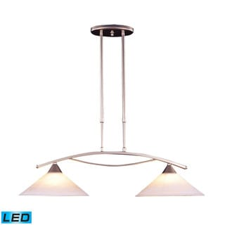 Elk Elysburg 2-light LED Island in Satin Nickel and White Glass