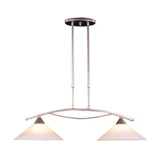 Elk Elysburg 2-light Island in Satin Nickel and White Glass