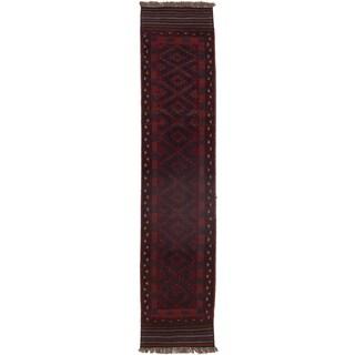 Ecarpetgallery Hand-knotted Tajik Caucasian Red Wool Runner Rug (1'11 x 8'6)
