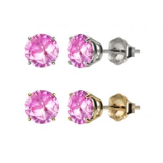 10k White or Yellow Gold 6mm Round Lab-Created Pink Sapphire Stud Earrings