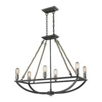 Elk Natural Rope 6-light Chandelier in Silvered Graphite with Polished Nickel Accents