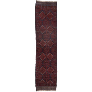 Ecarpetgallery Hand-knotted Tajik Caucasian Blue Red Wool Oriental Runner Rug (2' x 8'4)