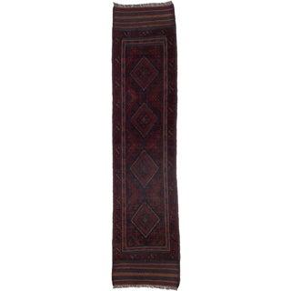 Ecarpetgallery Hand-knotted Tajik Caucasian Blue Red Wool Geometric Runner Rug (1'11 x 8'4)