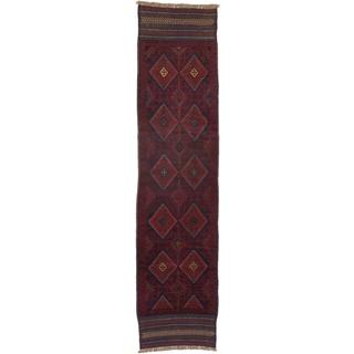 Ecarpetgallery Hand-knotted Tajik Caucasian Blue Red Wool Geometric Runner Rug (1'11 x 8'1)