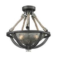 Elk Natural Rope 2-light Pendant in Silvered Graphite with Polished Nickel Accents
