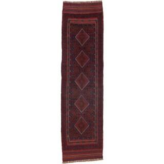 Ecarpetgallery Hand-knotted Tajik Caucasian Blue Red Wool Runner Rug (2'2 x 8'2)