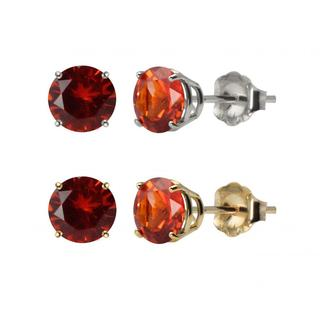 10k White or Yellow Gold 6mm Round Lab-Created Padparadscha Stud Earrings