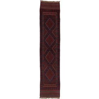 Ecarpetgallery Hand-knotted Tajik Caucasian Blue Red Wool Runner Rug (1'10 x 8'9)