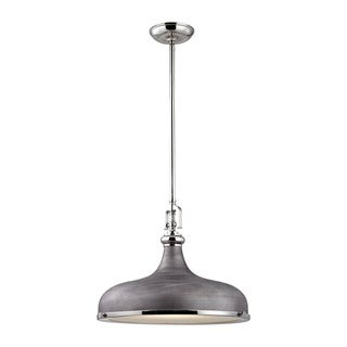 Elk Rutherford 1-light Pendant in Polished Nickel and Weathered Zinc
