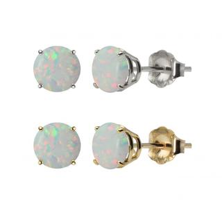 10k White or Yellow Gold 6mm Round Lab-Created Opal Stud Earrings