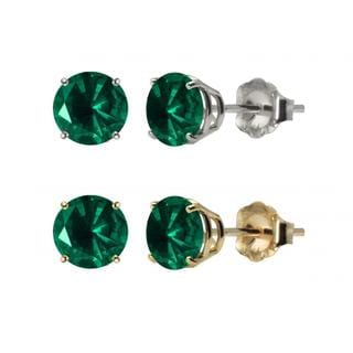 10k White or Yellow Gold 6mm Round Lab-Created Emerald Stud Earrings