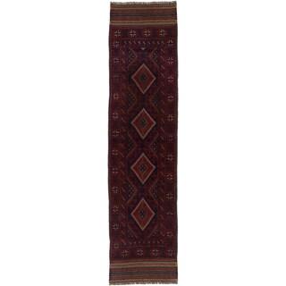 Ecarpetgallery Hand-knotted Tajik Caucasian Blue Red Wool Oriental Runner Rug (1'11 x 7'11)