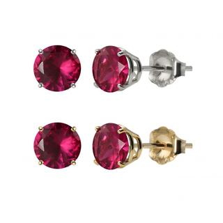 10k White Or Yellow Gold 6mm Round Lab Created Ruby Stud Earrings