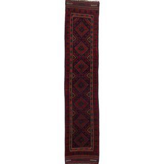 Ecarpetgallery Hand-knotted Tajik Caucasian Blue Red Wool Geometric Casual Runner Rug (1'10 x 8'8)