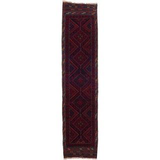 Ecarpetgallery Hand-knotted Tajik Caucasian Red Blue Wool Geometric Runner Rug (2' x 8'7)