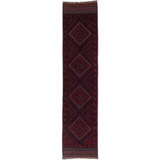 Ecarpetgallery Hand-knotted Tajik Caucasian Blue Red Wool Geometric Casual Runner Rug (1'11 x 8'6)