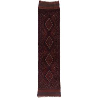 Ecarpetgallery Hand-knotted Tajik Caucasian Red Blue Wool Runner Rug (1'11 x 8'5)