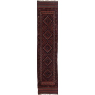 Ecarpetgallery Hand-knotted Tajik Caucasian Red Blue Wool Runner Rug (1'11 x 8'8)
